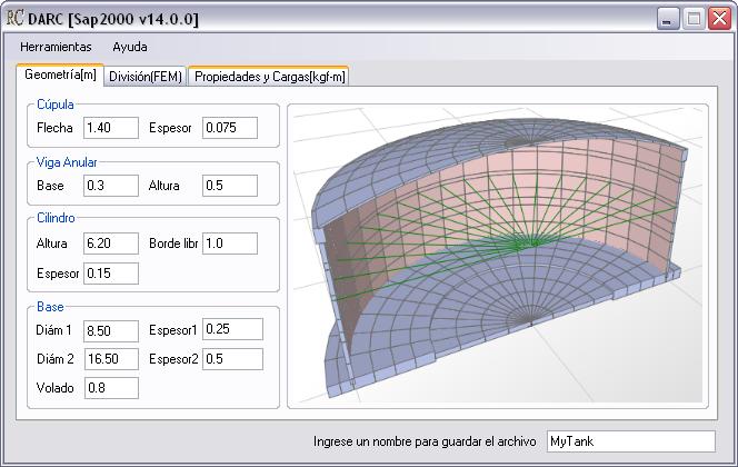 Extensión Para El Diseño De Reservorios En Sap2000 Darc